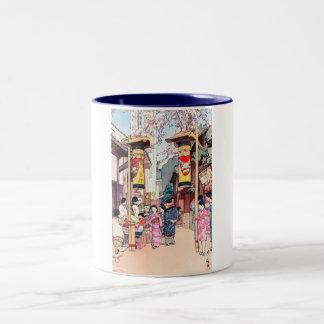 涼しい東洋の日本の国のフェスティバルの絵画 ツートーンマグカップ