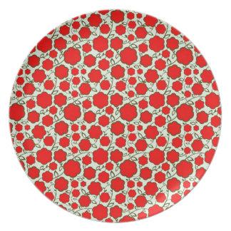 涼しい東洋の日本の赤い花の花柄パターン プレート