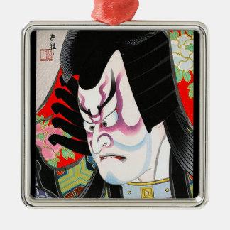 涼しい東洋の日本のwoodprintのtadamasaのkabuki メタルオーナメント