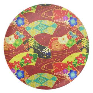 涼しい東洋の日本人の抽象芸術の鮮やかなパターン プレート