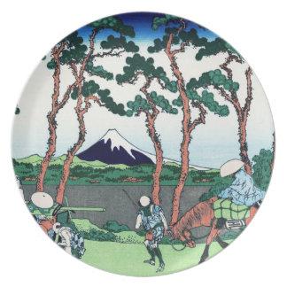 涼しい東洋の日本人のHokusai富士の眺めの景色 プレート