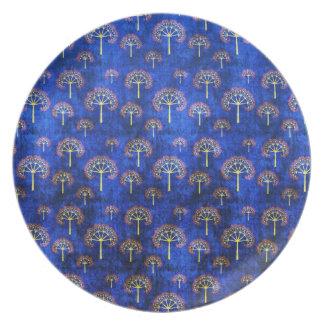 涼しい東洋の青いパターンプレート プレート