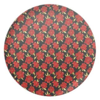 涼しい東洋の黒く赤い花模様 プレート