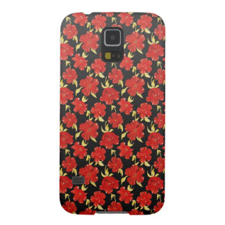 涼しい東洋の黒く赤い花模様 GALAXY S5 ケース