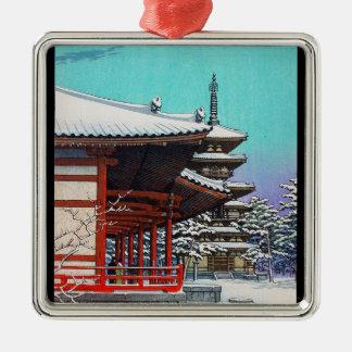 涼しい東洋のHasui Kawaseの日本の冬の村 メタルオーナメント