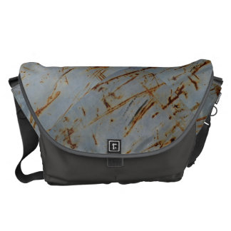 涼しい灰色がかった青い錆ついた汚い表面 メッセンジャーバッグ