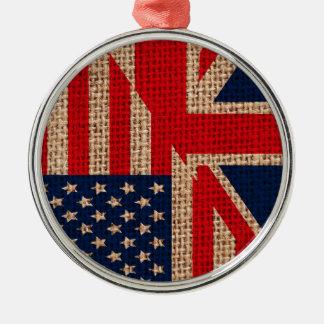 涼しい米国の英国国旗はバーラップの質の効果に印を付けます メタルオーナメント