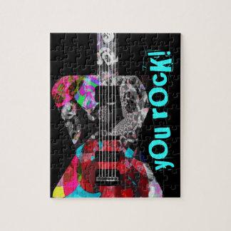 涼しい錫が付いている「ロッカーコレクション」のギターのパズル! ジグソーパズル