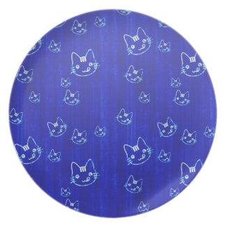涼しくかわいい日本猫の子猫のnekoの藍色 プレート