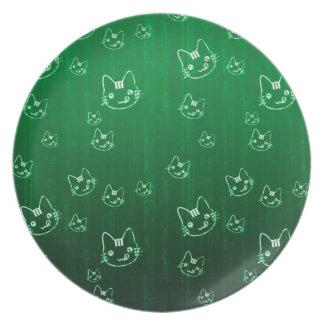 涼しくかわいく抽象的な子猫の緑のプレート プレート