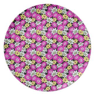 涼しくガーリーで鮮やかな花の花のオーナメントパターン プレート