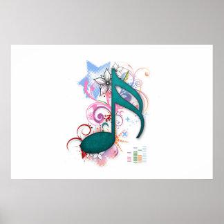 涼しく青くグランジな音楽ノートは花の渦巻を主演します ポスター