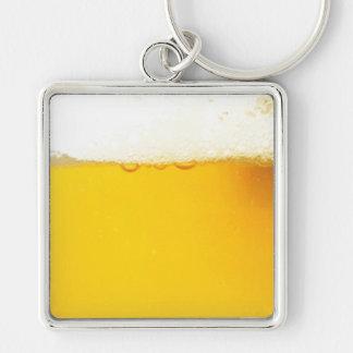 涼しく風味がよいビールKeychain シルバーカラー正方形キーホルダー