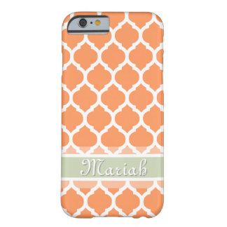 淡いオレンジ色及び軽く真新しい格子名前をカスタムする BARELY THERE iPhone 6 ケース