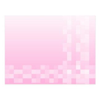 淡いピンクおよび白い四角のパターン ポストカード