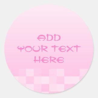 淡いピンクおよび白い四角のパターン ラウンドシール
