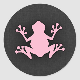 淡いピンクのカエル ラウンドシール