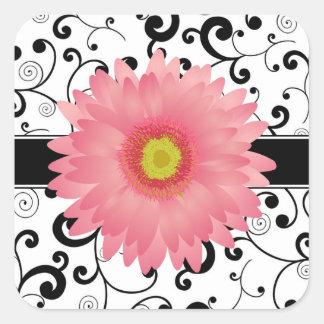 淡いピンクのガーベラのデイジーの黒スクロールデザインのシール 正方形シール