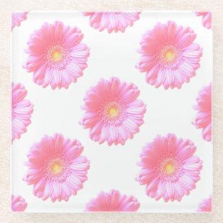 淡いピンクのガーベラのデイジー ガラスコースター