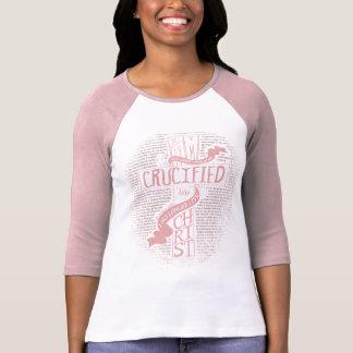 淡いピンクのキリストと制される Tシャツ