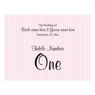 淡いピンクのストライプな結婚式のテーブル数 ポストカード