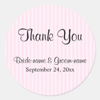 淡いピンクのストライプな結婚式は感謝していしています ラウンドシール