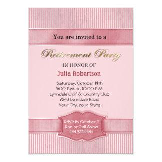 淡いピンクのストライプな退職のパーティの招待状 カード