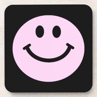 淡いピンクのスマイリーフェイスの正方形のコースター コースター