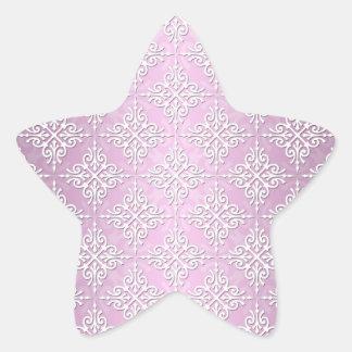 淡いピンクのダマスク織パターン 星シール