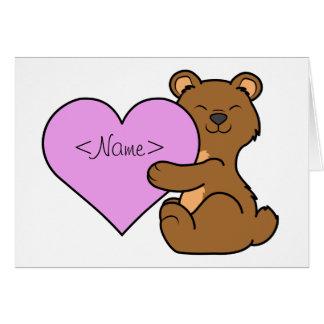 淡いピンクのハートのバレンタインデーのヒグマ カード