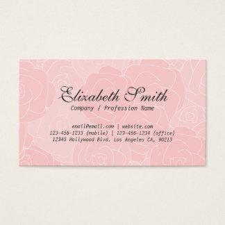 淡いピンクのバラのシンプルな花の名刺 名刺