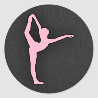 淡いピンクのバレエダンサー ラウンドシール