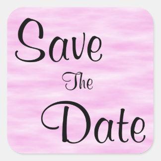 淡いピンクのパターン保存日付 スクエアシール