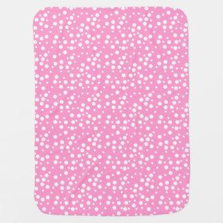 淡いピンクのベビーブランケットの白い水玉模様 ベビー ブランケット
