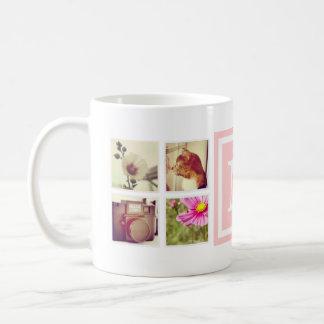 淡いピンクのモノグラムのInstagramの写真のコラージュのマグ コーヒーマグカップ