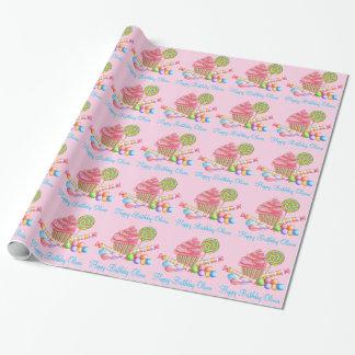 淡いピンクの不思議の国の菓子の包装紙 ラッピングペーパー
