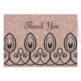 淡いピンクの中世ブロケードは感謝していしています カード