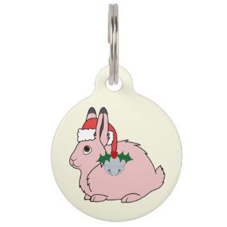 淡いピンクの北極ノウサギ-サンタの帽子及びシルバーベル ペット ネームタグ
