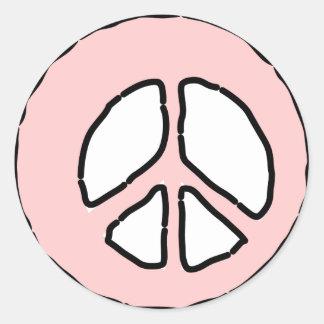 淡いピンクの平和 ラウンドシール