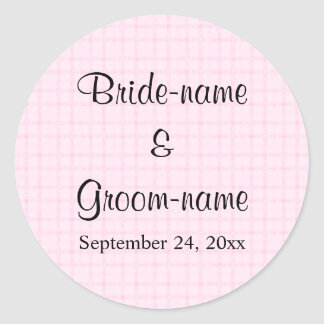 淡いピンクの点検および黒いテキストのデザインの結婚 ラウンドシール