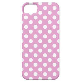 淡いピンクの白い水玉模様 iPhone SE/5/5s ケース