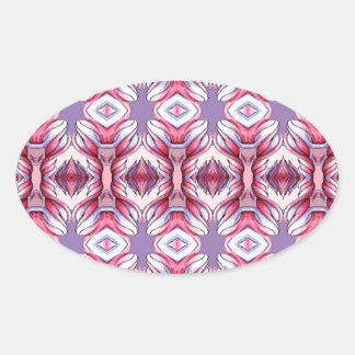 淡いピンクの紫色パターン 楕円形シール
