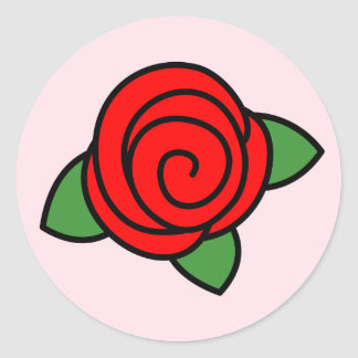 淡いピンクの赤いバラ ラウンドシール