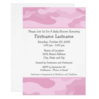 淡いピンクの迷彩柄のベビーシャワーかパーティー- カード