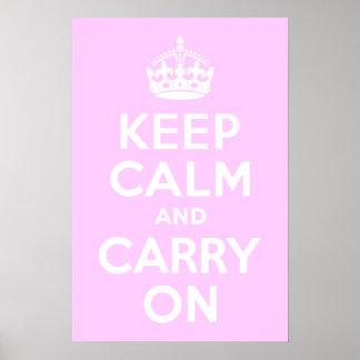 淡いピンクのKeep Calm and Carry On ポスター