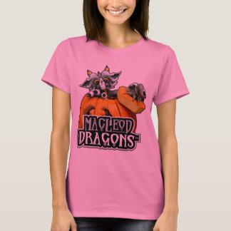 淡いピンクのMDのカボチャドラゴンのHanesの長袖T Tシャツ
