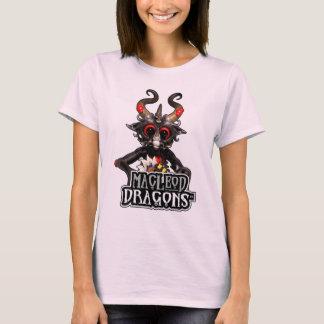 淡いピンクのMDの黒いドラゴン基本的なT Tシャツ