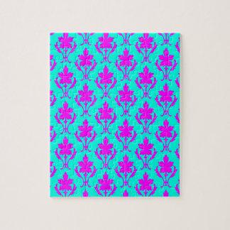 淡いブルーおよびピンクの華美な壁紙パターン ジグソーパズル