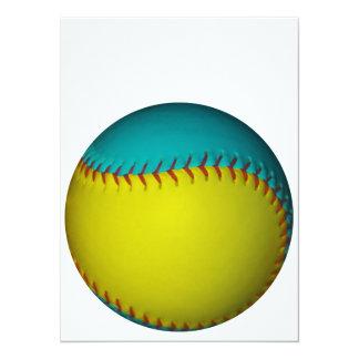 淡いブルーおよび明るく黄色いソフトボール 14 X 19.1 インビテーションカード