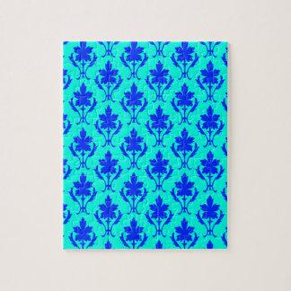 淡いブルーおよび濃紺の華美な壁紙パターン ジグソーパズル